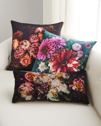 Fleur De Nuit Noir Pillow  and Matching Items