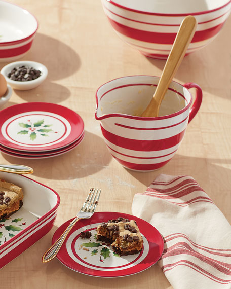 Holiday Hand-Painted Stripe Mixing Bowl