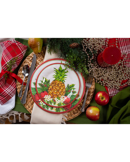 Christmas Pineapple Dinner Plates, Set of 4