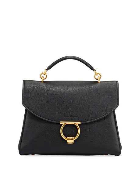 Salvatore Ferragamo Margot Medium Leather Top-Handle Bag
