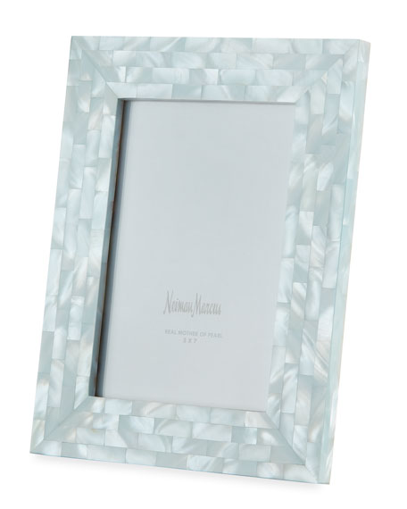 """Mother-of-Pearl Frame, Blue, 5"""" x 7"""""""