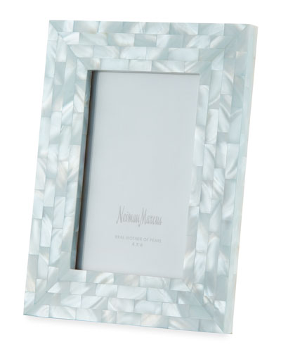 Mother-of-Pearl Picture Frame  Blue  4 x 6