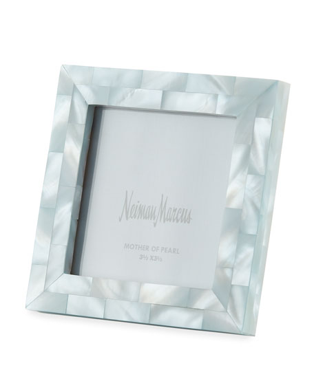 "Mother-of-Pearl Picture Frame, Blue, 3.5"" x 3.5"""