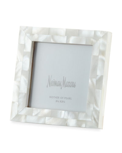Mother-of-Pearl Frame, White, 3.5