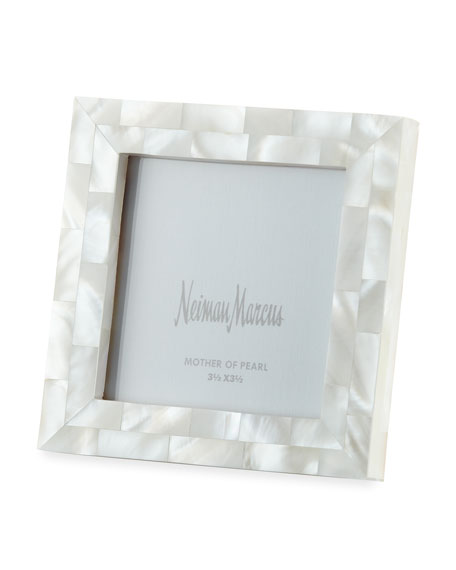 "Mother-of-Pearl Frame, White, 3.5"" x 3.5"""
