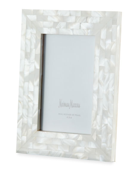 """Mother-of-Pearl Frame, White, 4"""" x 6"""""""