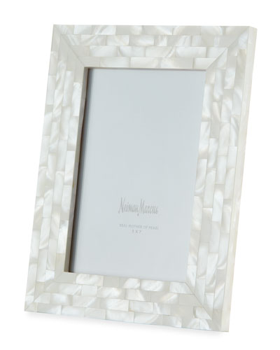 Mother-of-Pearl Picture Frame  White  5 x 7