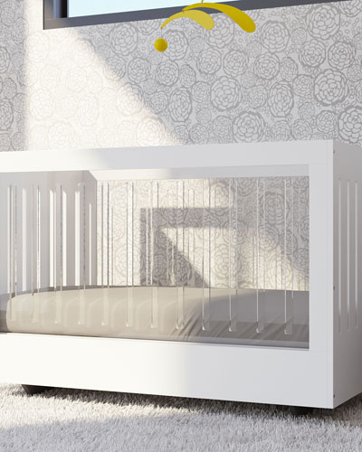 Roh Crib with 2 Acrylic Sides  White