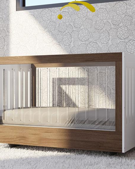 Roh Crib with 2 Acrylic Sides, White/Walnut
