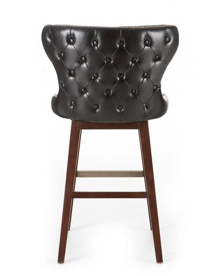 """""""Estelle"""" Black Leather Barstool"""