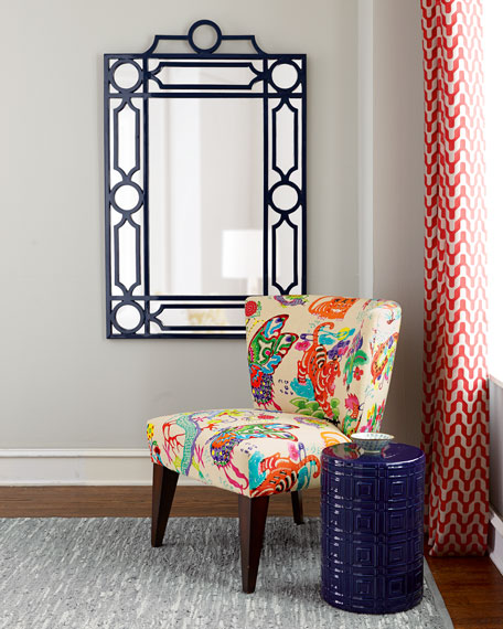 Navy Geometric Mirror