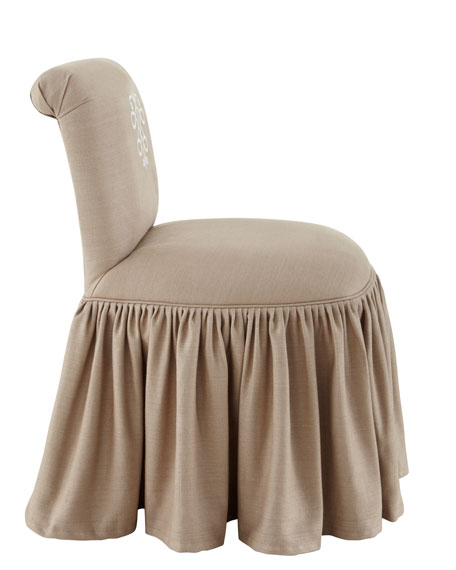 """Susan"" Embroidered-Crest Vanity Stool"