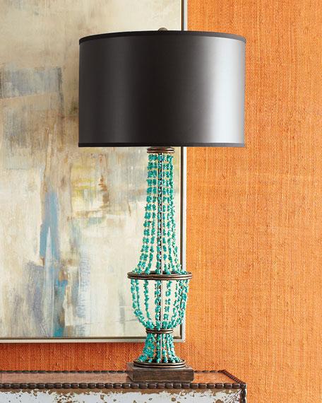 Turquoise Drape Table Lamp