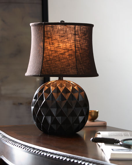 Honeycomb Lamp with Linen Shade