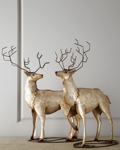 """Champagne Frost"" Deer, Set of Two"