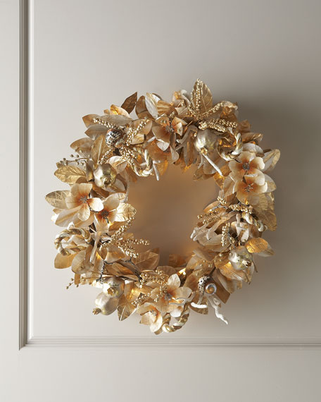"""""""Champagne Frost"""" Pre-Lit Christmas Wreath"""