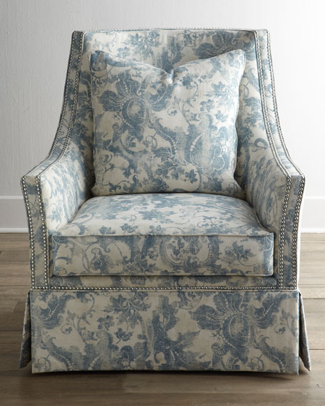 """Mystic Blue"" Skirted Chair"
