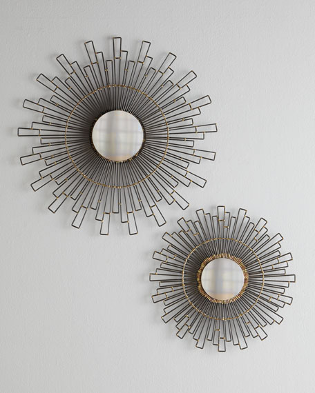 "Two ""Geometry"" Sunburst Mirrors"