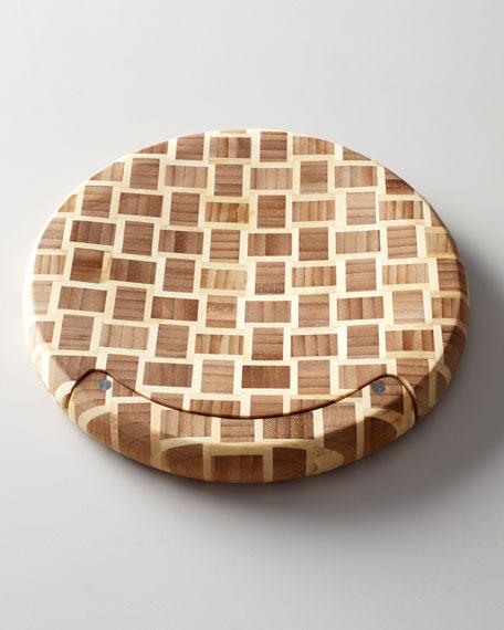 Checkered chef mezzaluna cutting board