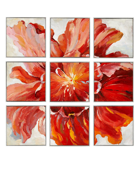 Set of Nine Multi-Poppy Paintings