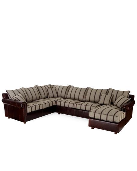 """Callum"" Menswear Print & Leather Sectional Sofa"