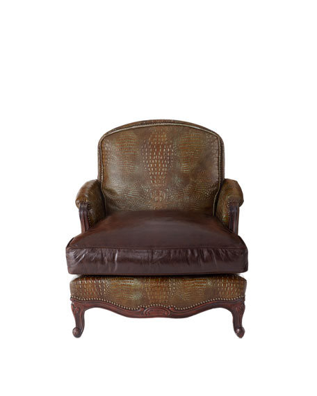 Antiqued-Brown-Leather Chair