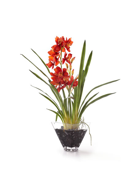 Red Orchid in Glass Planter Faux-Floral Arrangement