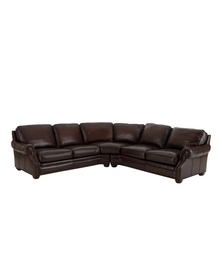 """""""Conrad"""" Two-Piece Leather Sectional"""