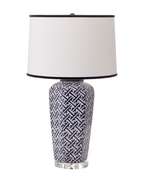 """Geometric"" Navy Lamp"