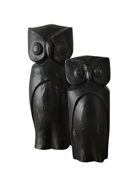 Two Black Halloween Owls