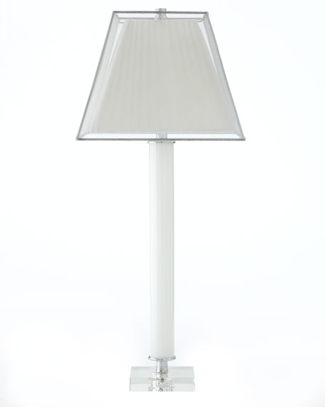 White Glass Lamp with Crystal Base