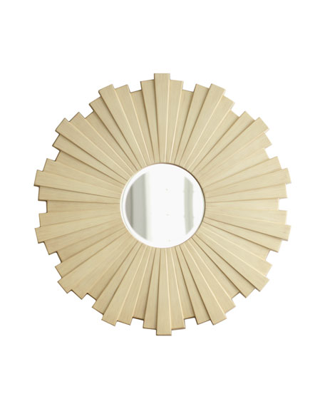 """Wooden Slat"" Sunburst Mirror"