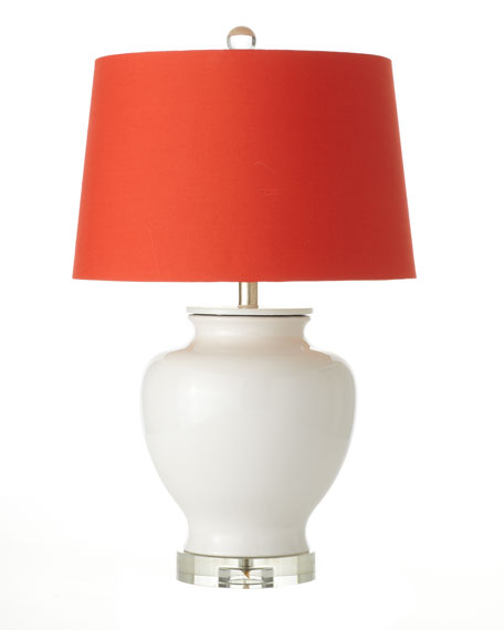 White Table Lamp with Orange Silk Shade