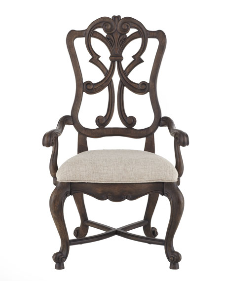 Two Donabella Wood-Back Armchairs