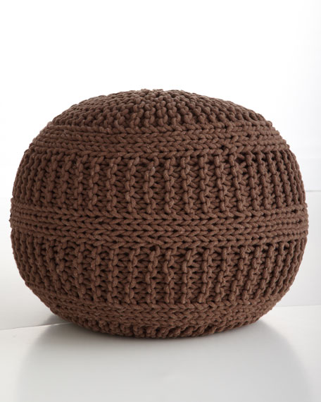 Cable-Knit Pouf