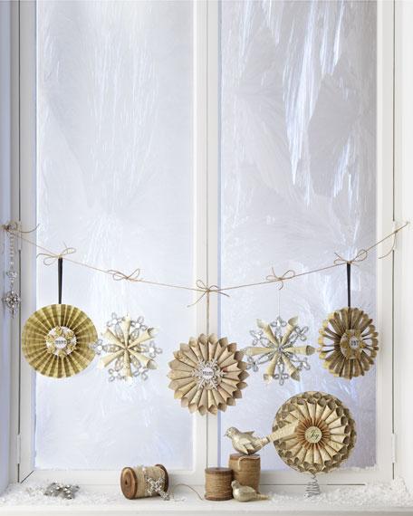 "Two ""Joyeux Noel"" Tinsel Snowflake Christmas Ornaments"