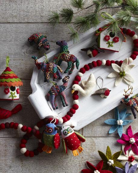 """Two """"Artisan"""" Owl Christmas Ornaments"""