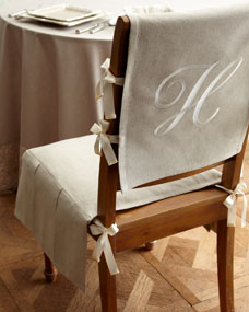 Remarkable French Laundry Home Chair Pad With Monogrammed Slipcover Theyellowbook Wood Chair Design Ideas Theyellowbookinfo