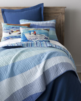 "Pine Cone Hill ""Speedboat"" Pillows & ""Ocean Wave"" Bed Linens"