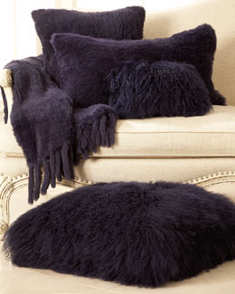 Adrienne Landau Purple Fur Pillows & Throw