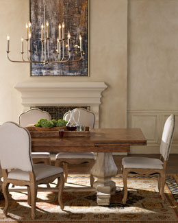 "Hooker Furniture ""Stoddard"" Dining Table & Natural Dining Chairs"