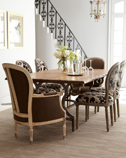 "Vanguard ""Mason"" Dining Table and ""Elizabeth"" & ""Phoebe"" Chairs"