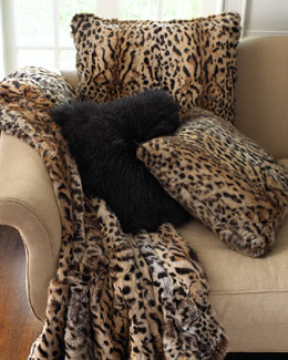 Adrienne Landau Rabbit Fur Throw, Rabbit Fur Pillows, & Mongolian Wool Pillow