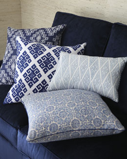 John Robshaw Blue & White Block-Print Pillows