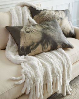 Horse Accent Pillows & Rabbit-Fur Throw