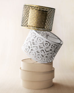 "Cut-Out Metal, Laser-Cut Drum, and ""Art Deco"" Lamp Shades"