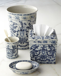 """Blue & White Toile"" Porcelain Vanity Accessories"