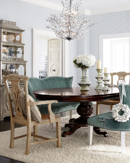 """Marie"" Dining Table, ""Brumley"" Banquette, & ""Country"" Armchairs"