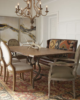 """Mason"" Dining Table, Linen-Upholstered & ""Blanchette"" Chairs, & ""Santa Fe"" Banquette"