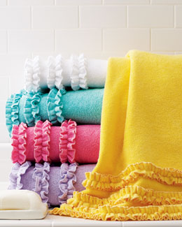 "Baltic Linen Company ""Echo"" Ruffled Bath Towels"